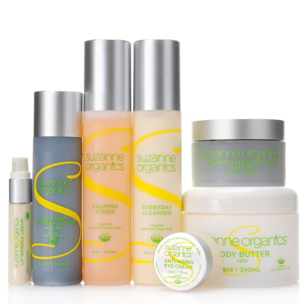 307-217 - Suzanne Somers Organics Seven-Piece Purifying Complete Skincare Set for Face, Lips & Eyes