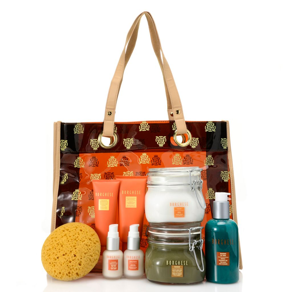 307-221 - Borghese Seven-Piece Complete Hydrating & Firming Skincare Collection w/ Sponge & Tote Bag