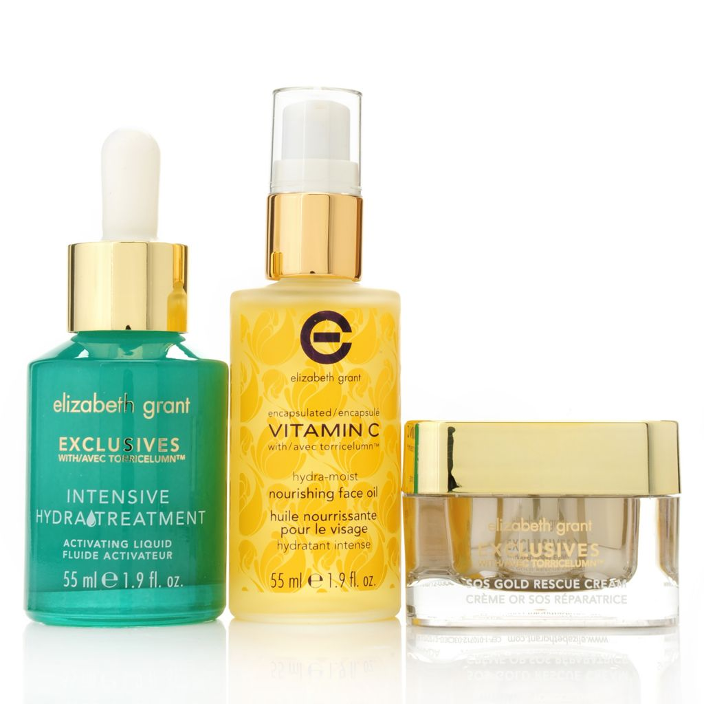 307-274 - Elizabeth Grant Nourishing Face Oil, Hydra Treatment & Gold Rescue Cream Trio