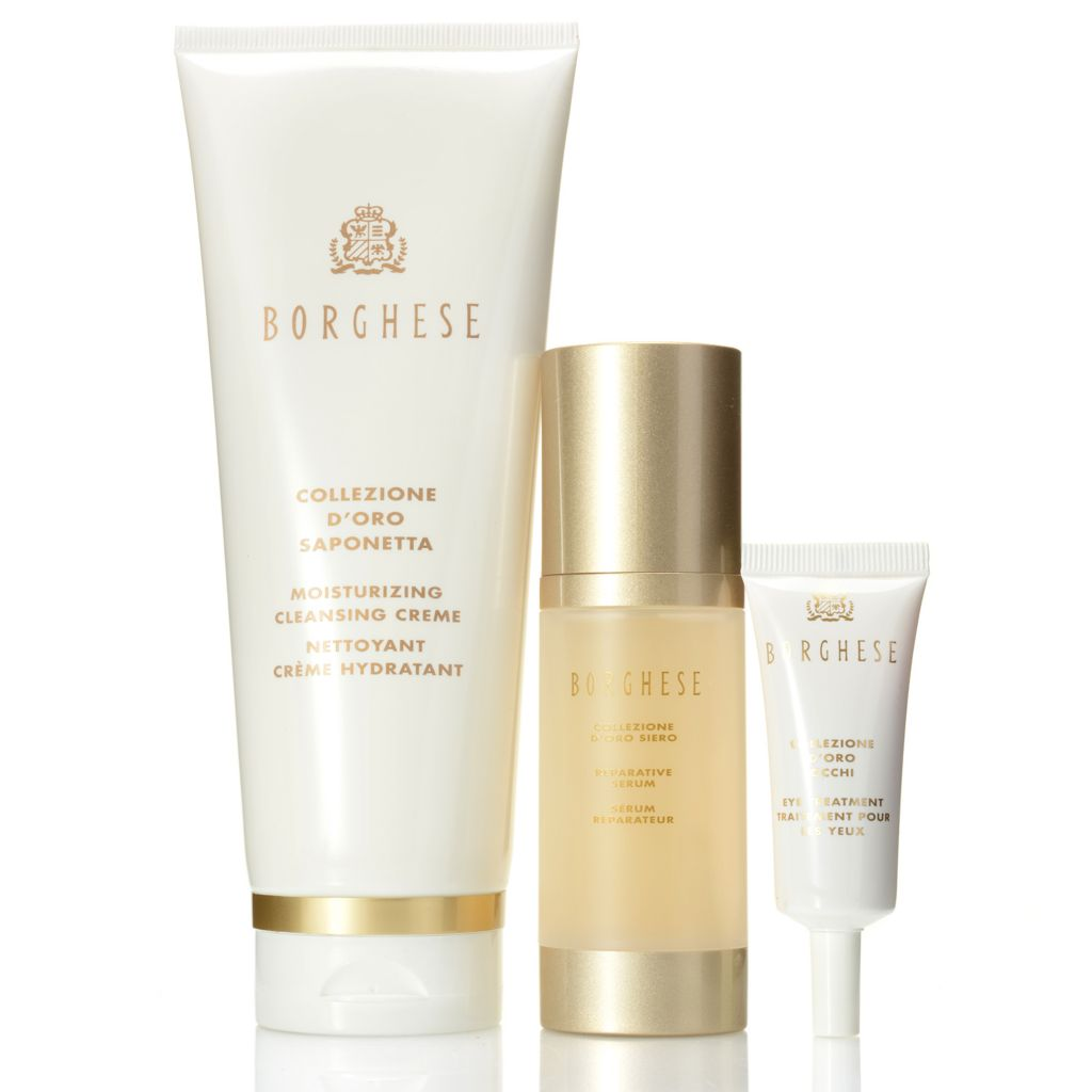 307-399 - Borghese Collezione D'Oro Cleansing Creme, Reparative Serum & Eye Treatment Trio