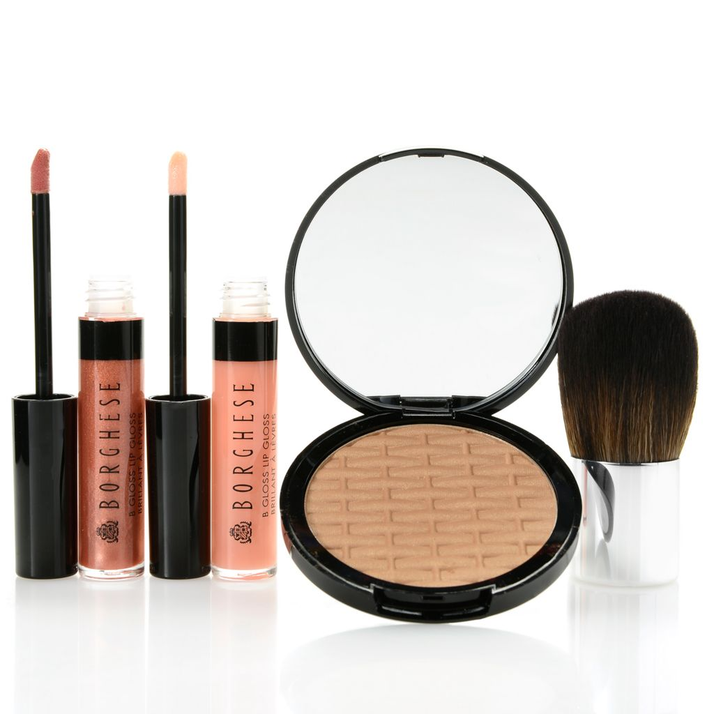 307-402 - Borghese Three-Piece Mineral Bronzer & Lip Gloss Cosmetic Set w/ Kabuki Brush