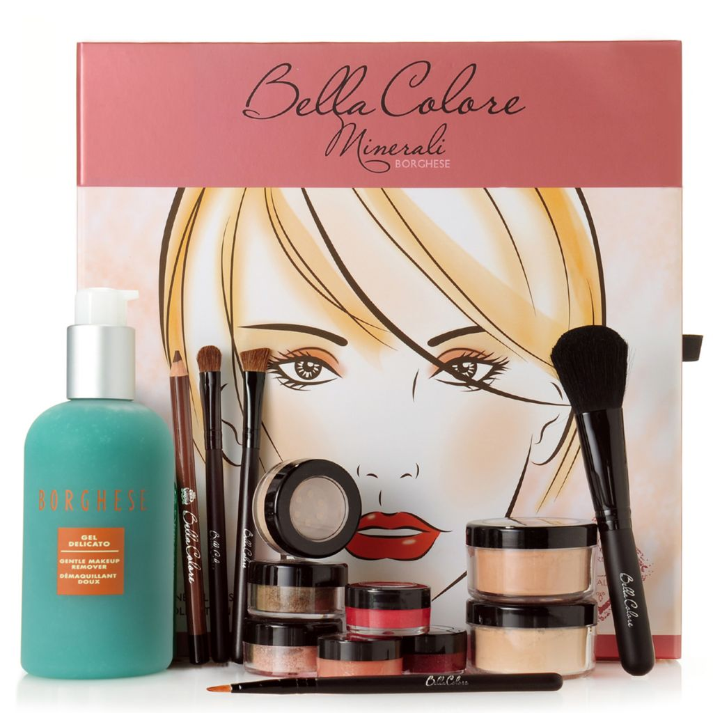 307-411 - Borghese 13-Piece Mineral Cosmetics & Brush Collection w/ Gel Delicato Makeup Remover