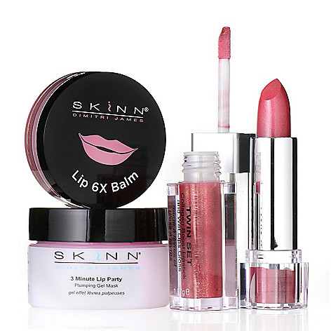 307-418 - Skinn Cosmetics 3-Minute Lip Party Gel Mask, Lip 6X Balm & Twin Set Lip Trio