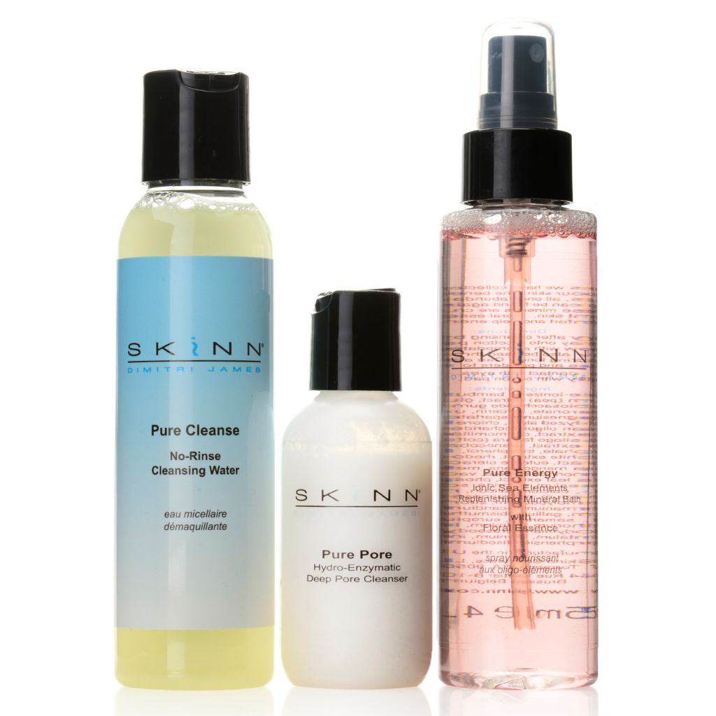 307-440 - Skinn Cosmetics Cleansing Water, Deep Pore Cleanser & Pure Energy Booster Trio