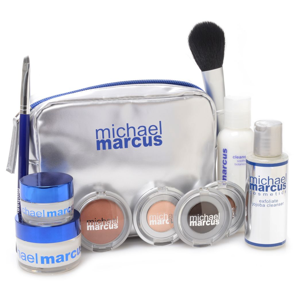 307-462 - Michael Marcus 10-Piece Age Defying Skincare & Color Collection for Eyes & Face w/ Bag