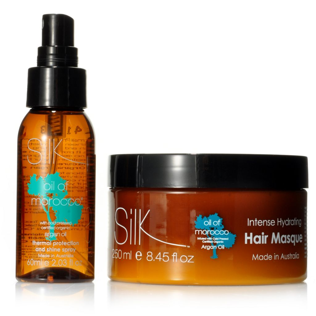 307-470 - Silk™ Oil of Morocco® Argan Oil Infused Hair Masque & Thermal Protection & Shine Spray Duo