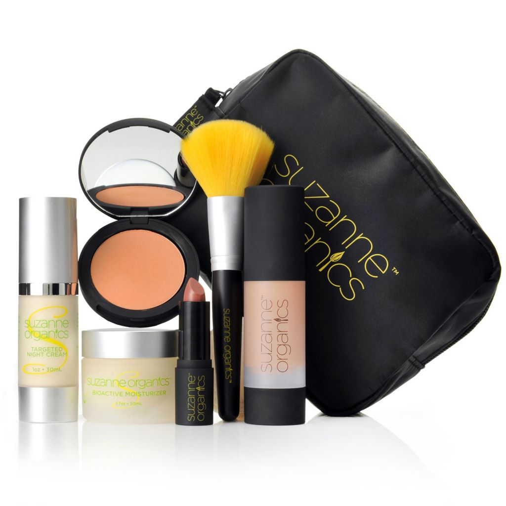 307-492 - Suzanne Somers Organics Six-Piece Flawless Skincare & Color Essentials Set w/ Cosmetic Bag