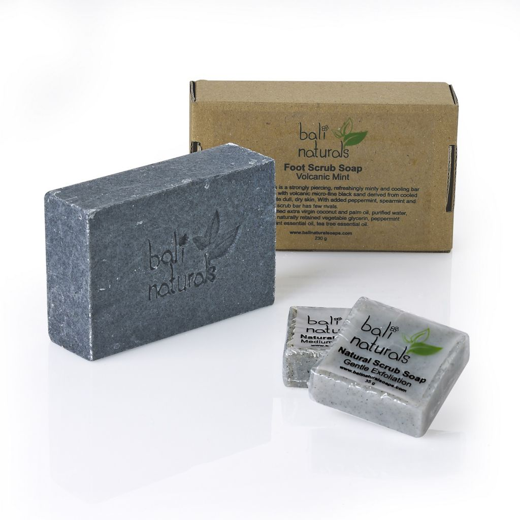 307-527 - Bali Naturals Three-Piece Handmade Volcanic Mint Foot Scrub & Natural Soap Scrub Set
