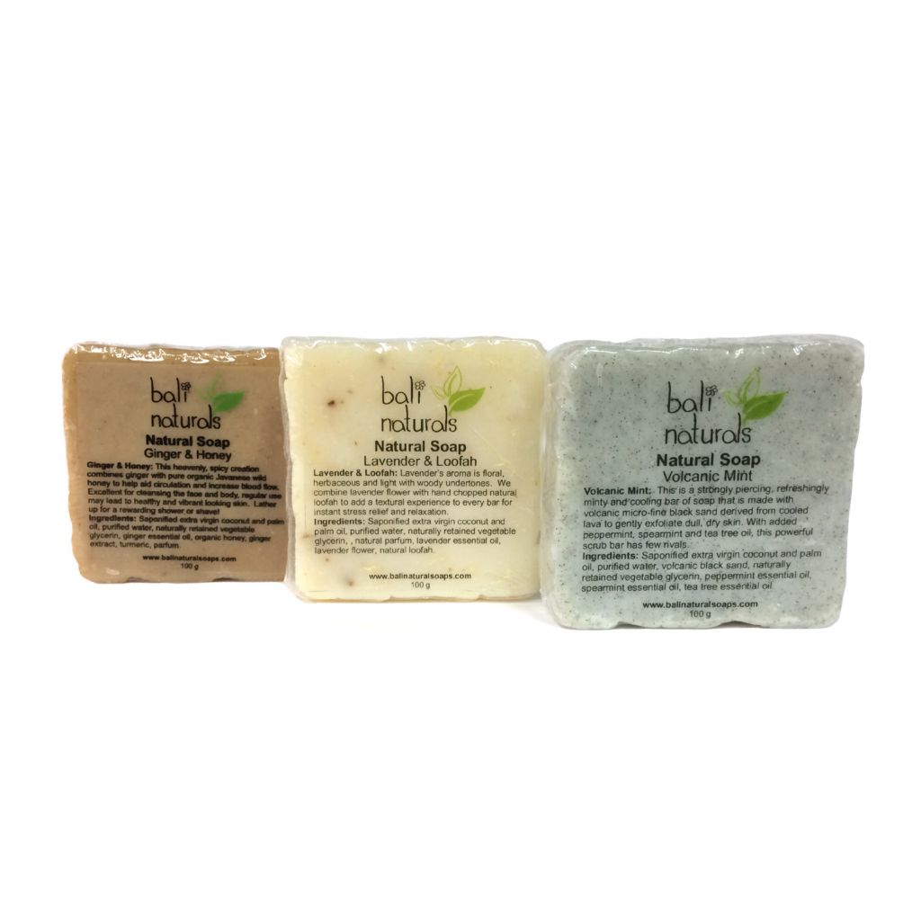 307-528 - Bali Naturals Three-Piece Handmade Cold Processed Natural Soap Scrub Set 100 grams Each