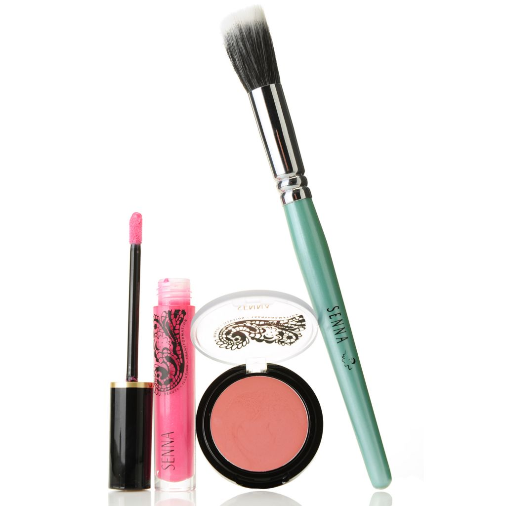 307-551 - SENNA Cream to Powder Cheeky Blush & Lip Lacquer Duo w/ Blush Brush