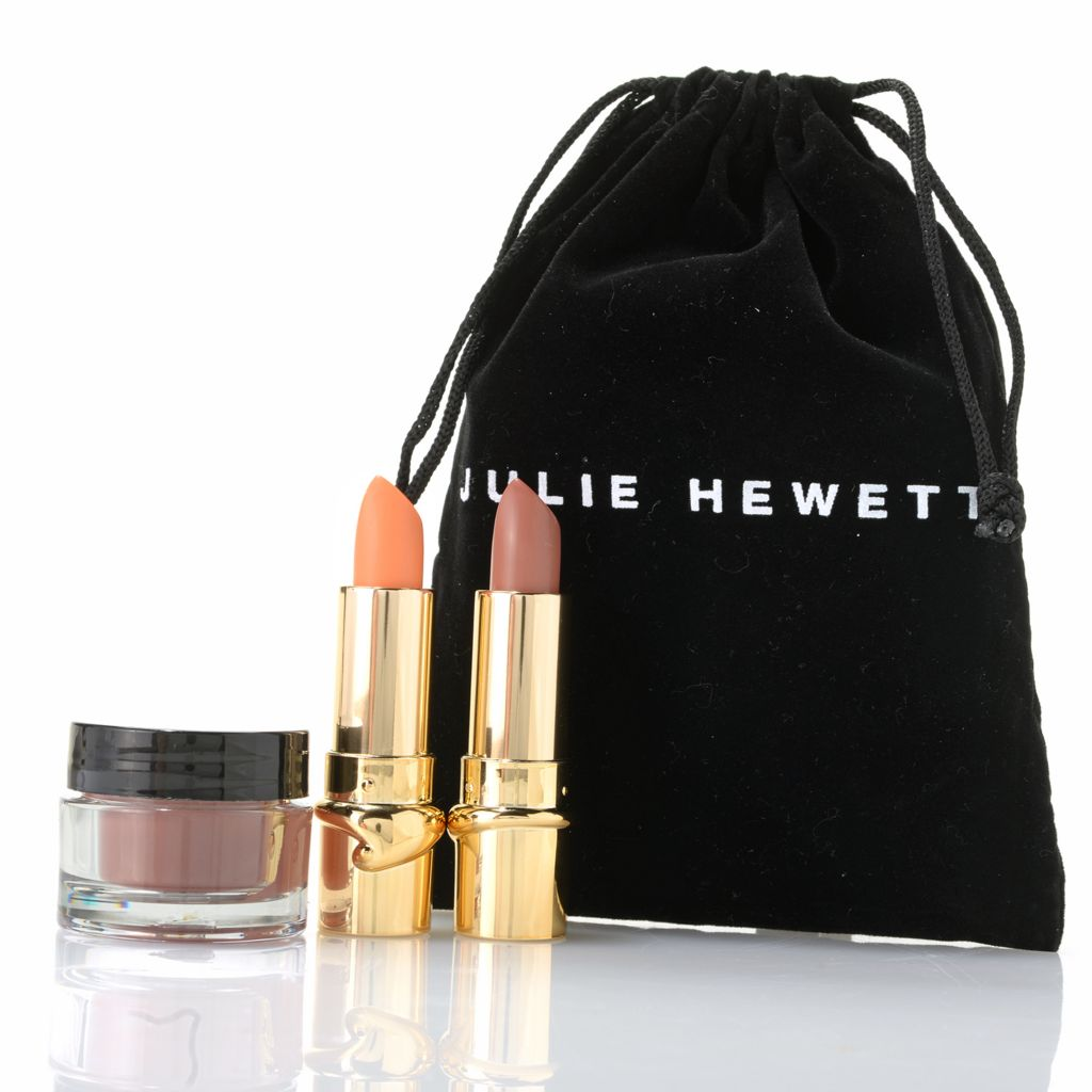 307-755 - Julie Hewett Three-Piece Discovery Kit for Cheeks & Lips w/ Cosmetic Bag