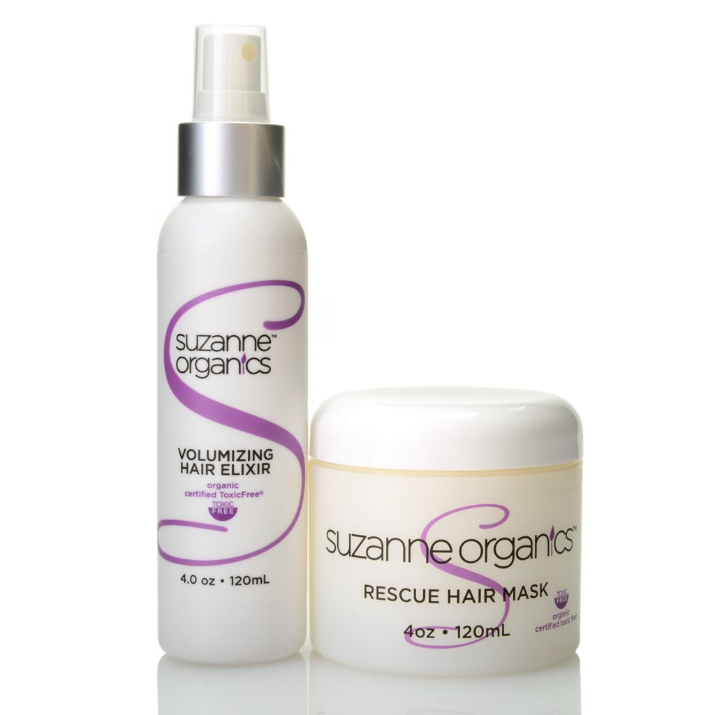 307-851 - Suzanne Somers Organics Rescue Hair Mask & Volumizing Hair Elixir Duo