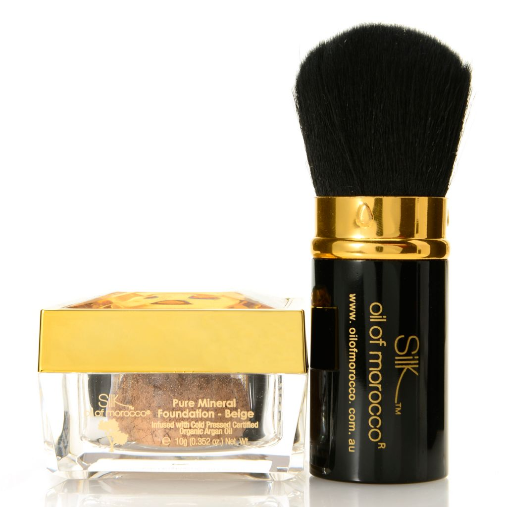 307-918 - Silk™ Oil of Morocco® Argan Oil Infused Pure Mineral Powder Foundation w/ Kabuki Brush