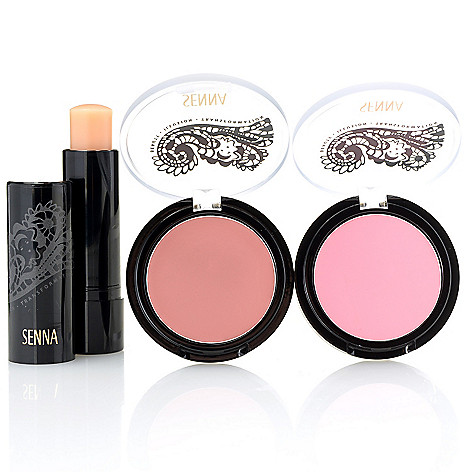 307-969 - SENNA Cheeky Cream to Powder Blush Duo w/ Moisturizing Lip Treatment Balm
