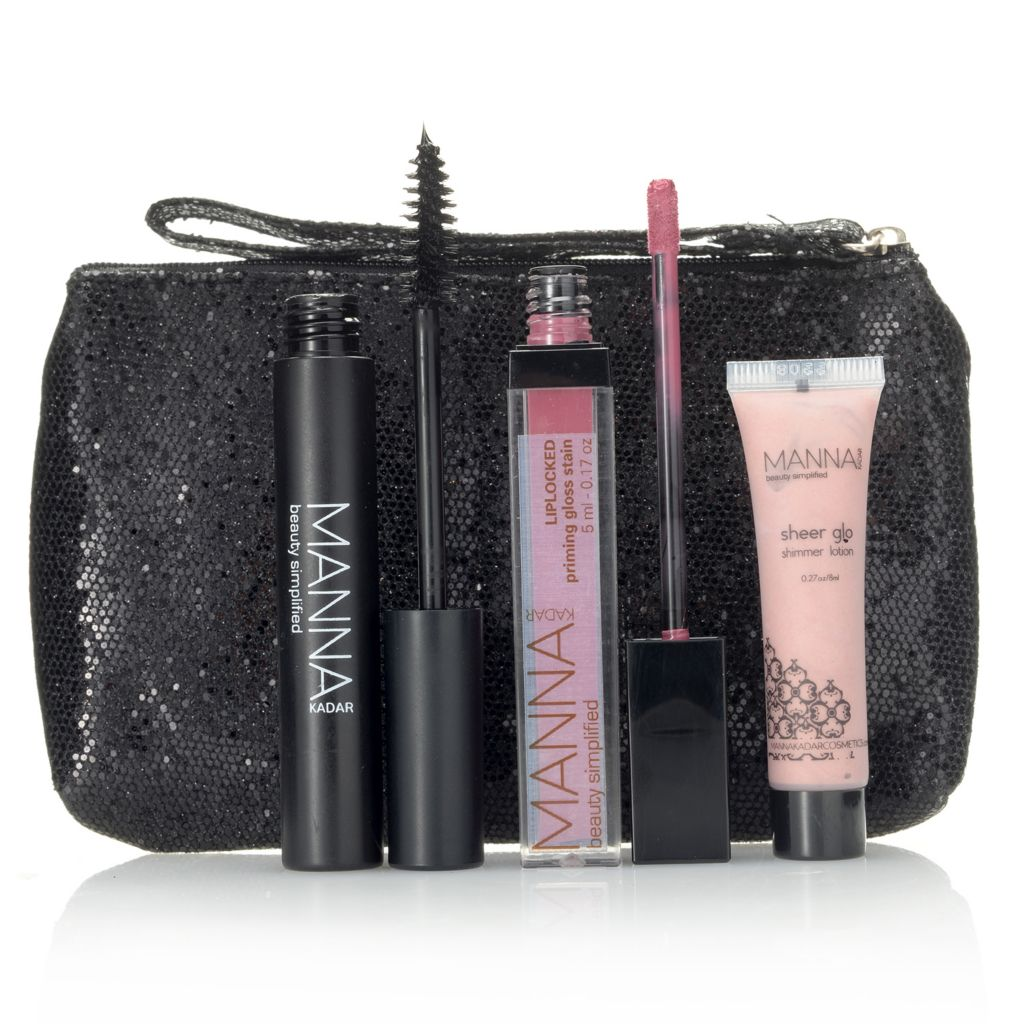 308-203 - Manna Kadar Three-Piece Cosmetic Discovery Set for Eyes, Lips & Face w/ Wristlet