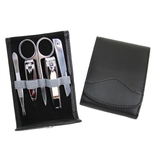 308-343 - Royce Leather Five-Piece Stainless Steel Manicure Set w/ Leather Flip Case