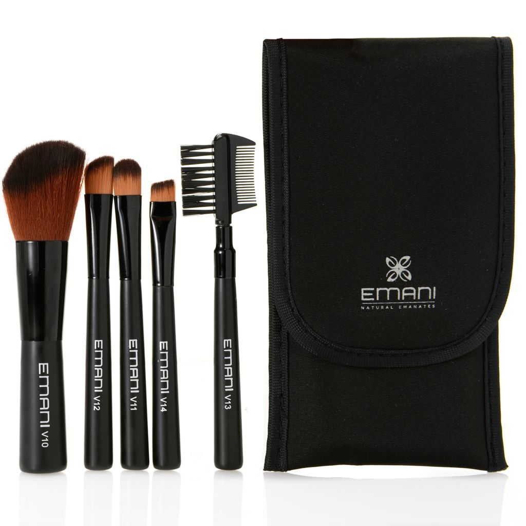 308-365 - EMANI Cosmetics Five-Piece Brush Set w/ Travel Pouch