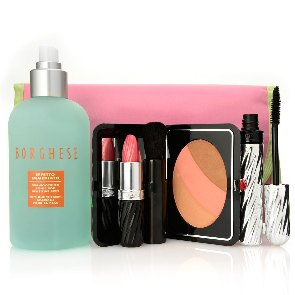 "308-375 - Borghese Four-Piece ""Summer Looks"" Soothing Tonic & Color Collection w/ Cosmetic Bag"