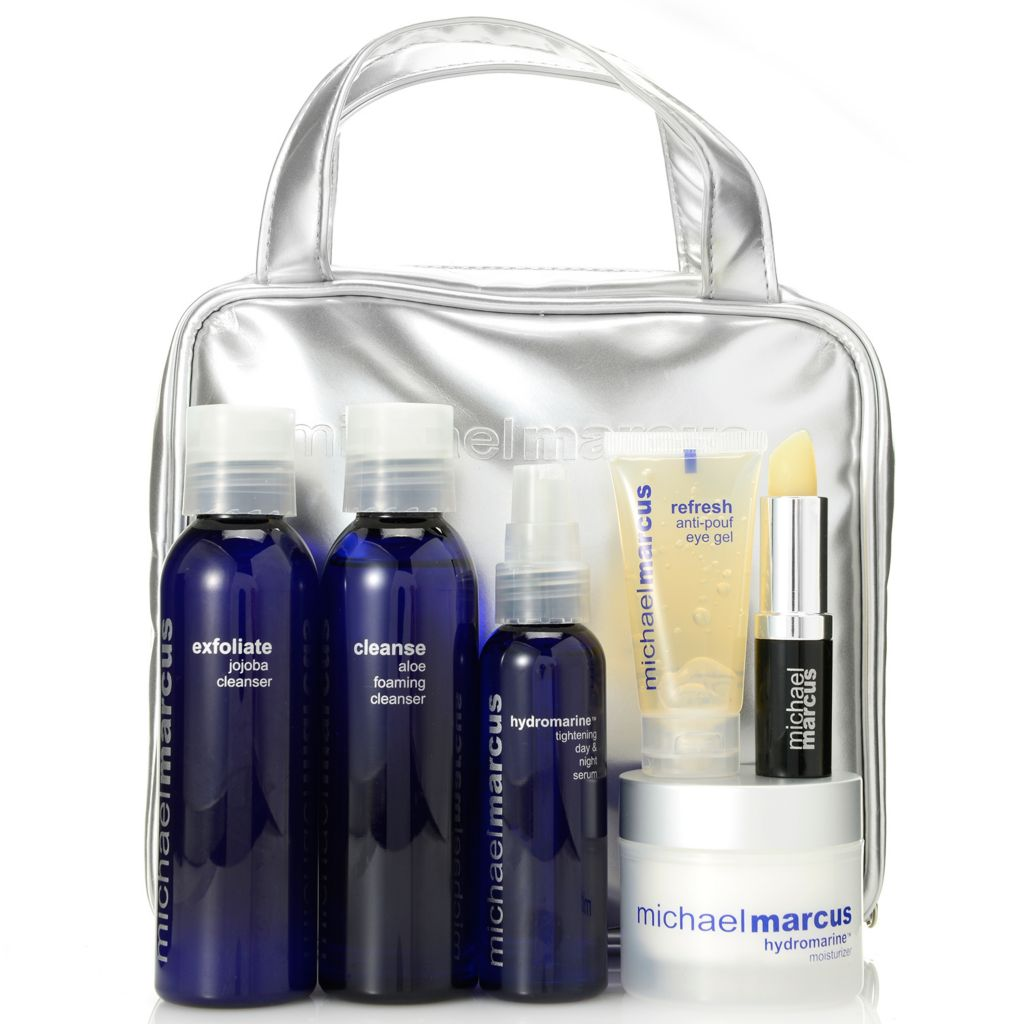 308-384 - Michael Marcus Six-Piece Hydrate & Tighten Skincare Set w/ Cosmetic Bag