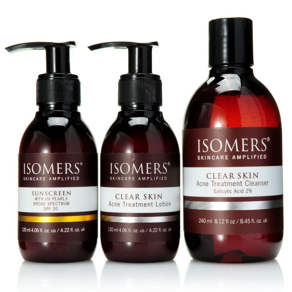 "308-402 -  ISOMERS® ""Clear & Clean Skin"" Acne Treatment & Sunscreen Trio"