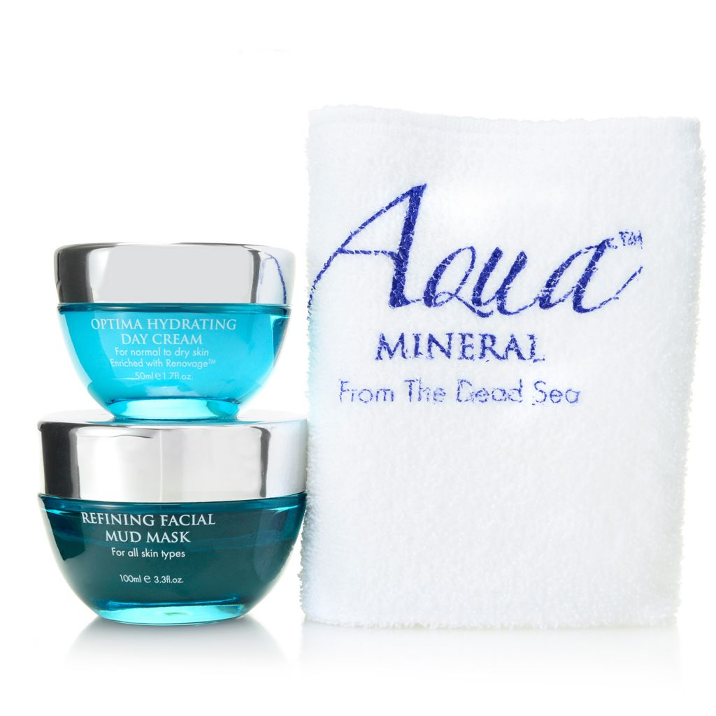 308-411 - Aqua Mineral™ Refining Mud Mask & Optima Hydrating Day Cream Face Care Duo w/ Cloth