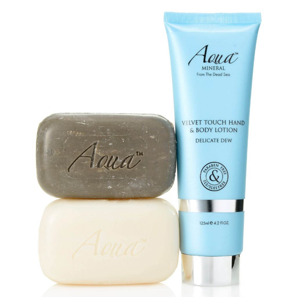 308-416 - Aqua Mineral™ Mud Soap, Mineral Soap & Velvet Touch Hand & Body Lotion Trio