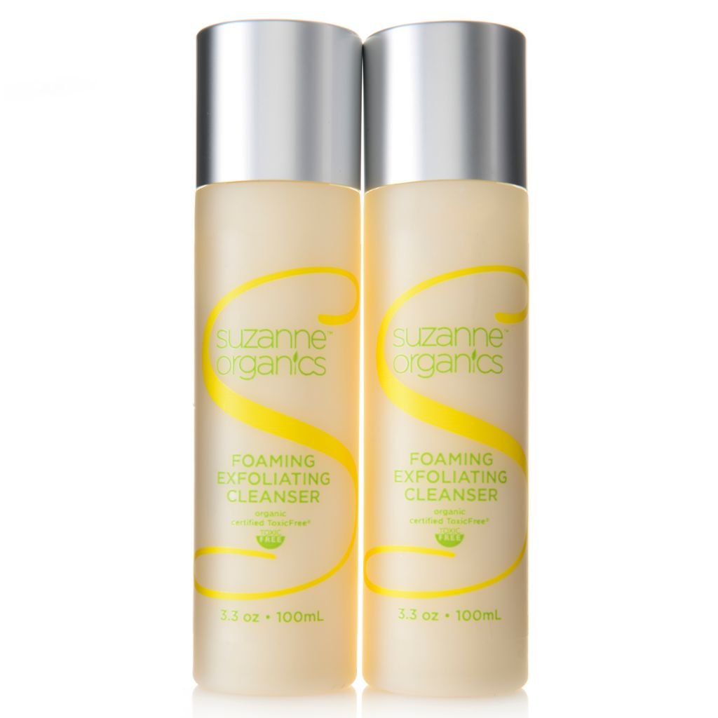 308-522 - Suzanne Somers Organics Foaming Exfoliating Cleanser Duo 3.3 oz Each