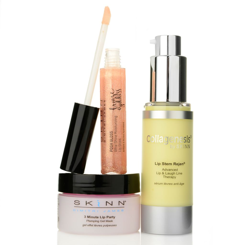 308-525 - Skinn Cosmetics Lip Stem Rejen, 3 Minute Lip Party & Ultra-Shine Lip Gloss Trio