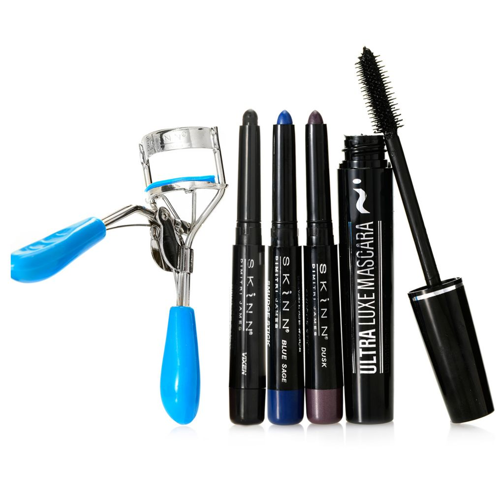 308-543 - Skinn Cosmetics Four-Piece Mascara, Smudge Sticks & Eyelash Curler Collection