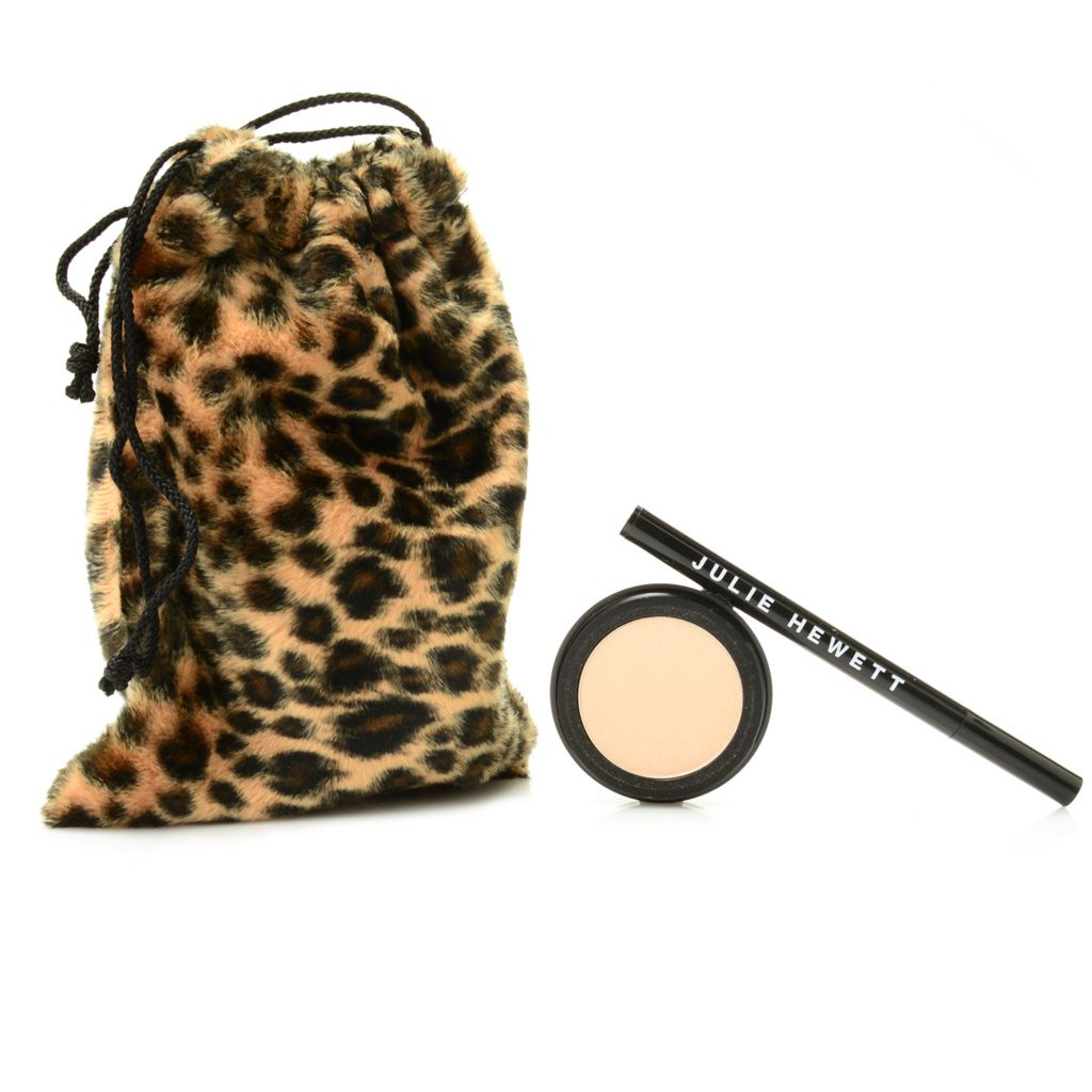 308-725 - Julie Hewett Glamour Cat Eyes Pen & Eye Shadow Duo w/ Drawstring Cosmetic Bag
