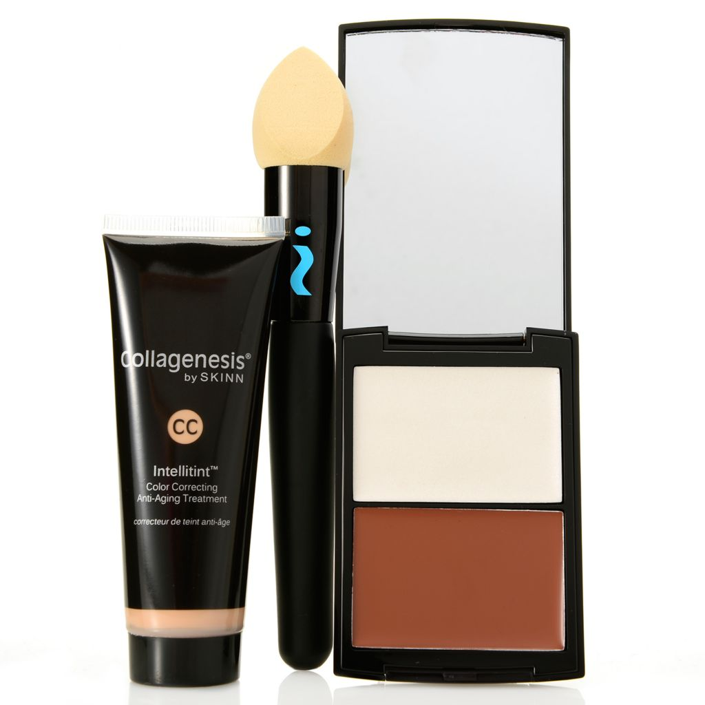 308-924 - Skinn Cosmetics CC Intellitint™ & Contour Pro Palette Duo w/ Blending Brush