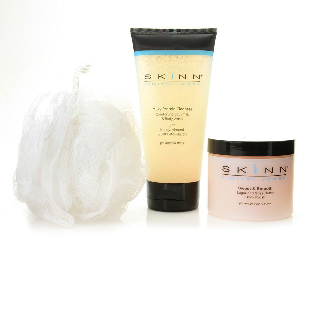 308-960 - Skinn Cosmetics Milky Protein Cleanser, Sweet & Smooth Body Polish & Mesh Sponge Trio