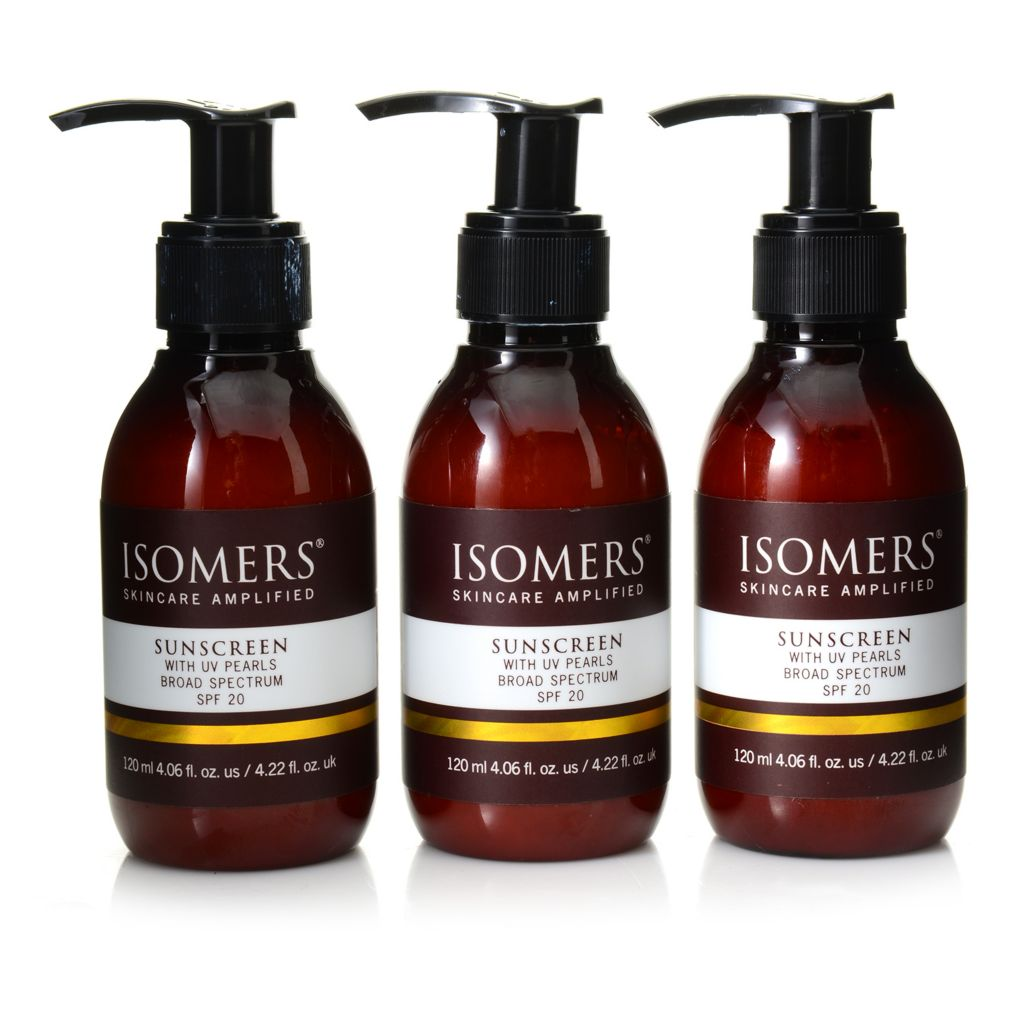 309-018 - ISOMERS® Broad Spectrum SPF 20 Sunscreen Trio w/ UV Pearls 4.06 oz Each