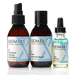 ISOMERS Skincare Three-Piece Hair Serum, Leave-in Booster & Beach Waves Sea Salt Spray Set