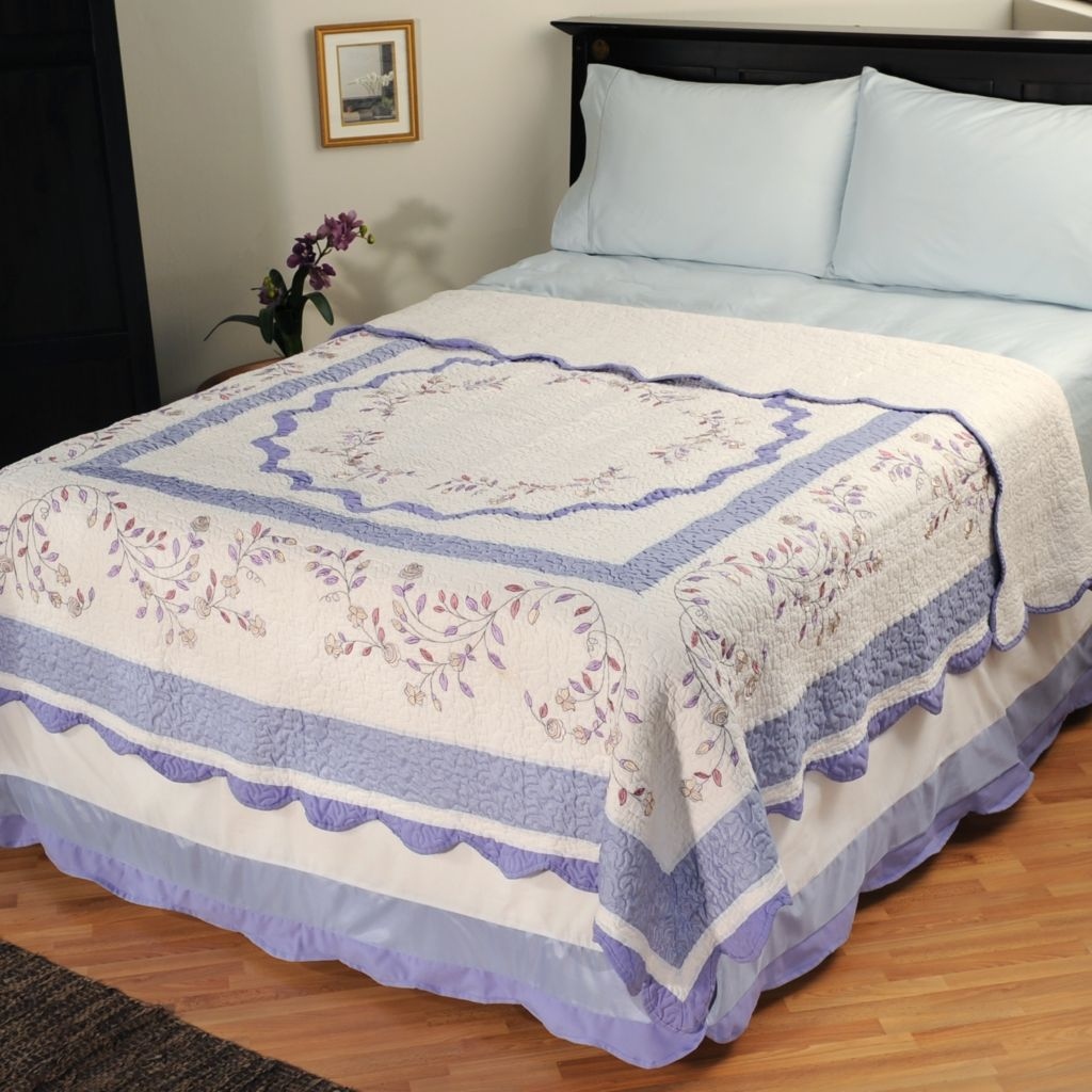"401-584 - North Shore[ ""Misty Vine"" Limited Edition Embroidered Twin Quilt"