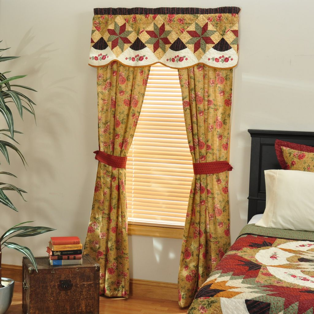 "401-663 - North Shore[ ""Savoy Stream"" Star Pattern Cotton Five-Piece Window Set"