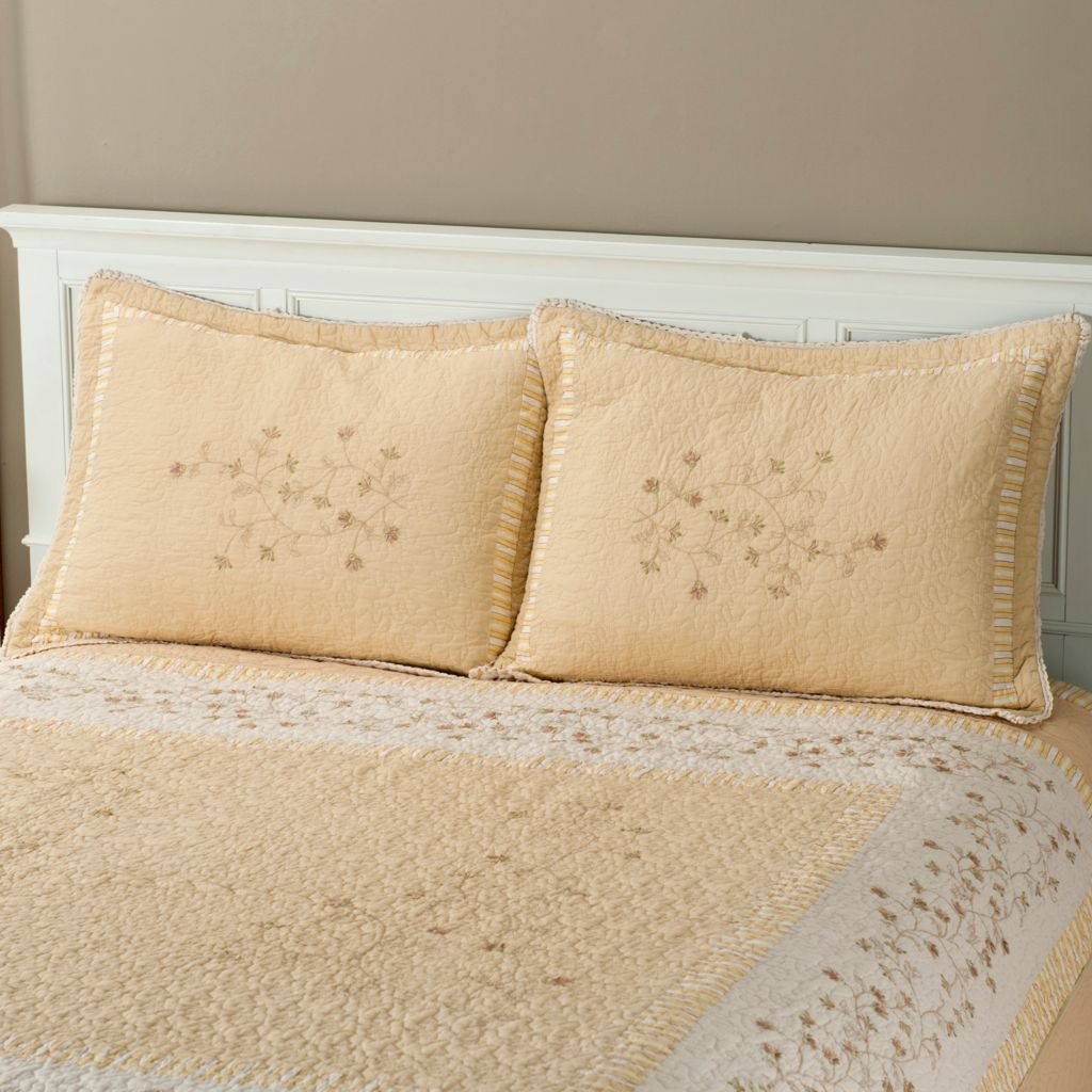 "401-815 - North Shore[ ""Sundance"" Cotton Floral Embroidered Quilted Sham Pair"