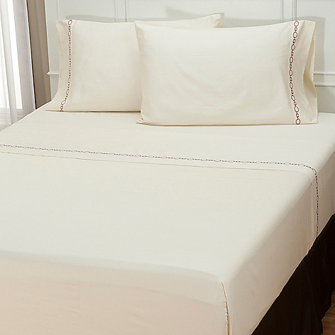 401-941 - North Shore Linens[ ''Roundup'' 300TC Cotton Embroidered Trim Four-Piece Sheet Set