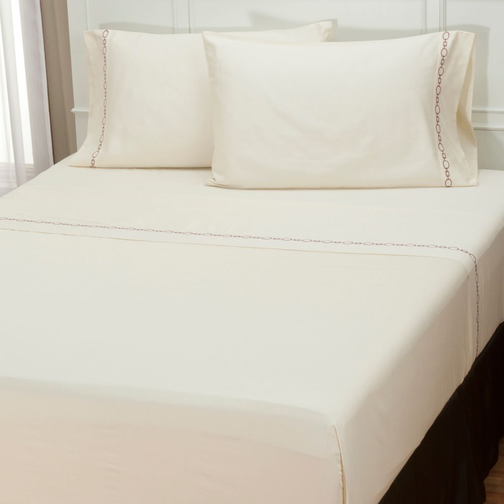 "401-941 - North Shore Linens™ ""Roundup"" 300TC Cotton Sateen Four-Piece Sheet Set"