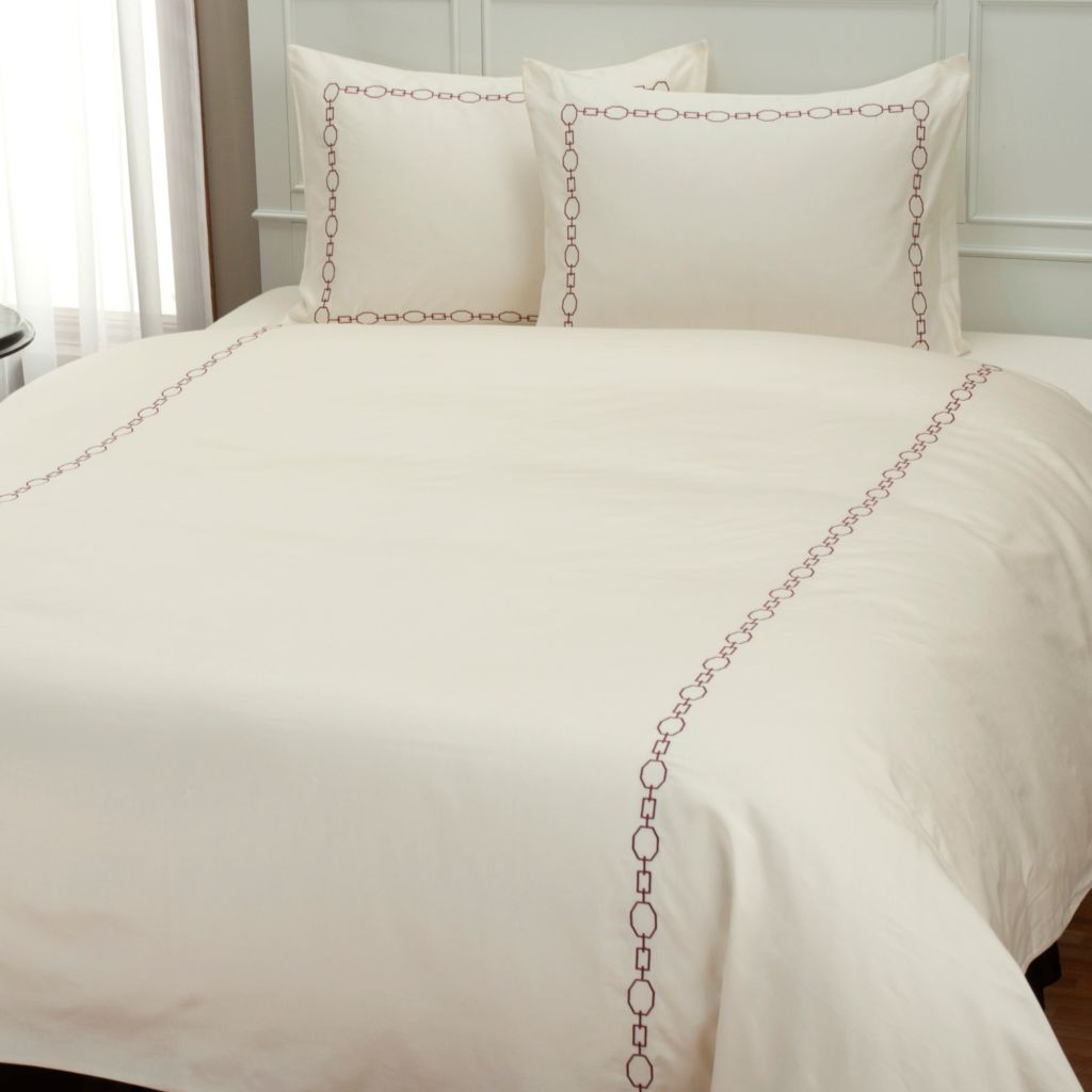 "401-942 - North Shore Linens™ 300TC ""Roundup"" Embroidered Three-Piece Duvet Set"