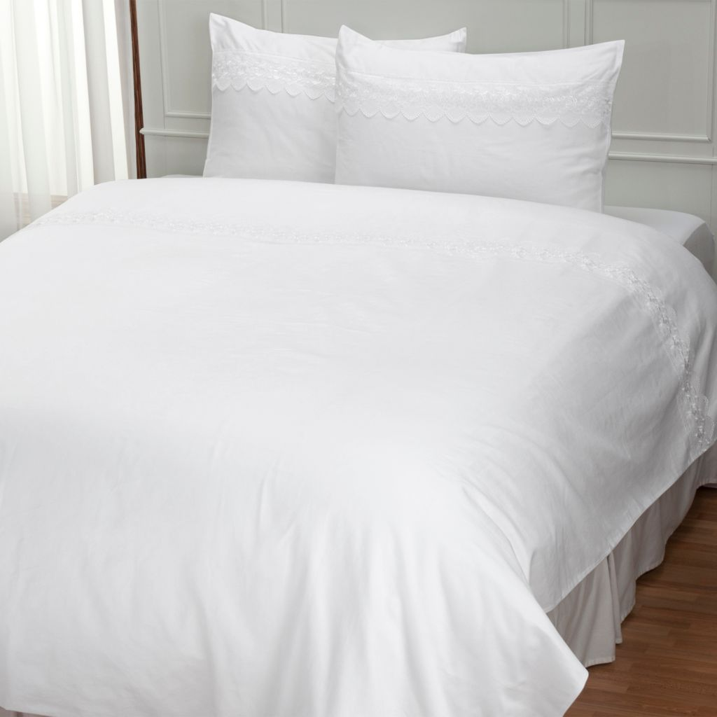 "401-944 - North Shore Linens™ ""Organza"" 300TC Cotton Lace Trim Three-Piece Duvet Set"