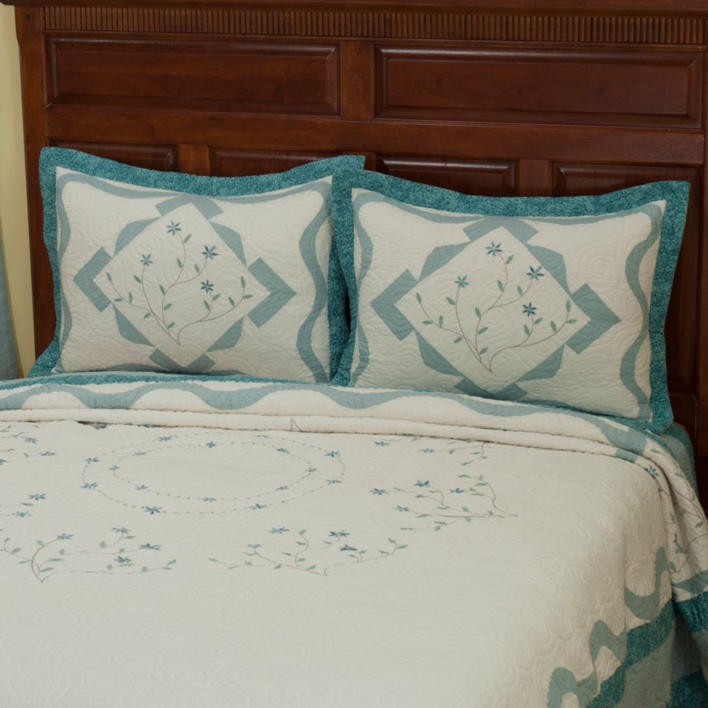 "402-010 - North Shore™ Collectible Quilts ""Alexandria"" Quilted Sham Pair"