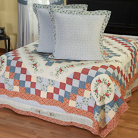 402-091 - North Shore™ Collectible Quilts ''Garden Song'' Euro Sham Pair & Bedskirt Set