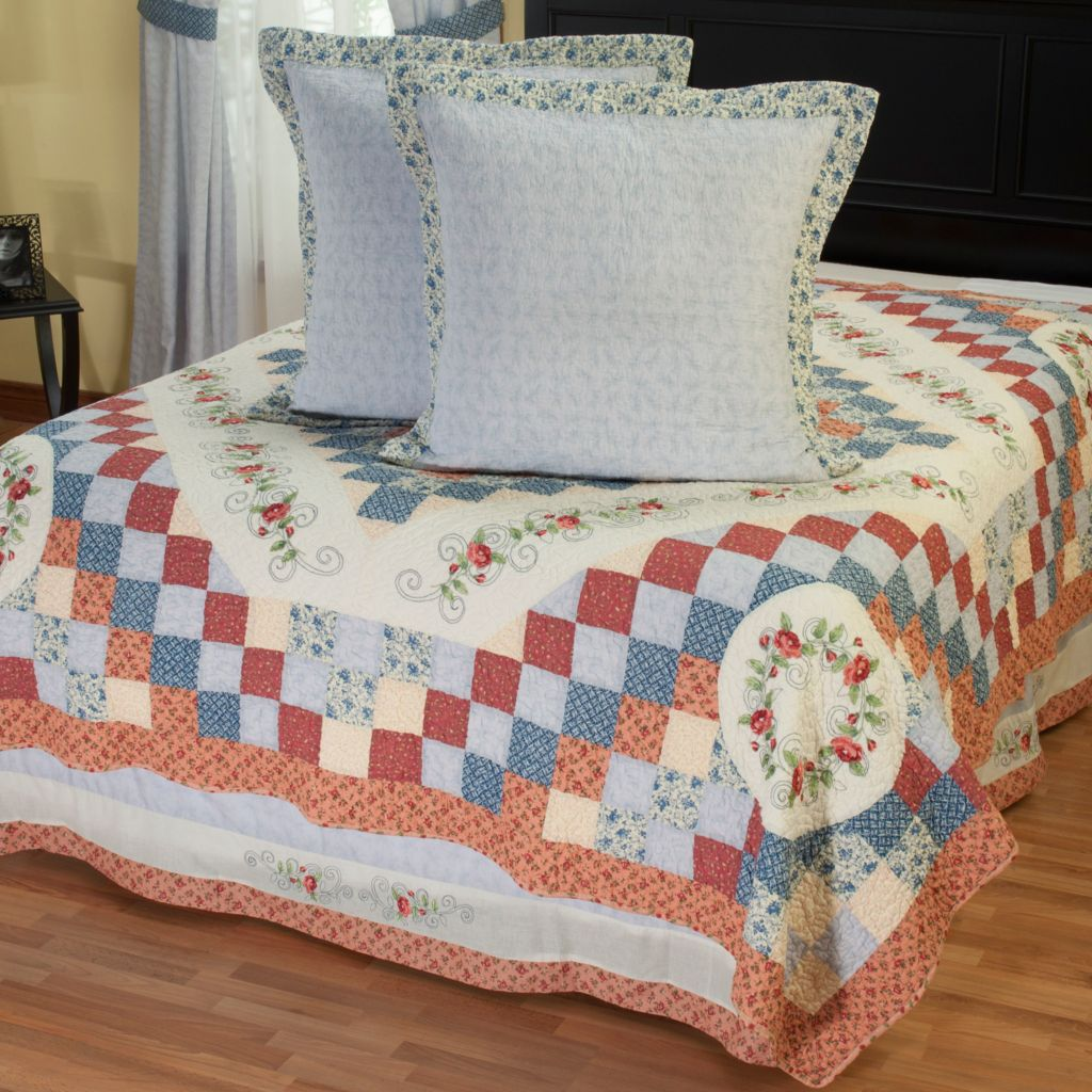 "402-091 - North Shore™ Collectible Quilts ""Garden Song"" Euro Sham Pair & Bedskirt Set"