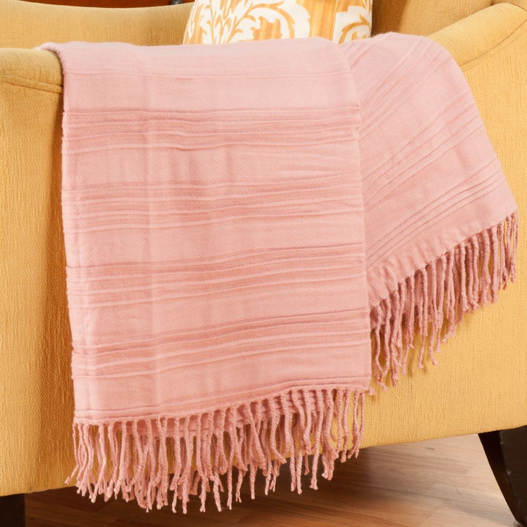 "402-113 - Cozelle® 54"" x 68"" Ridge Knotted Fringe Throw"