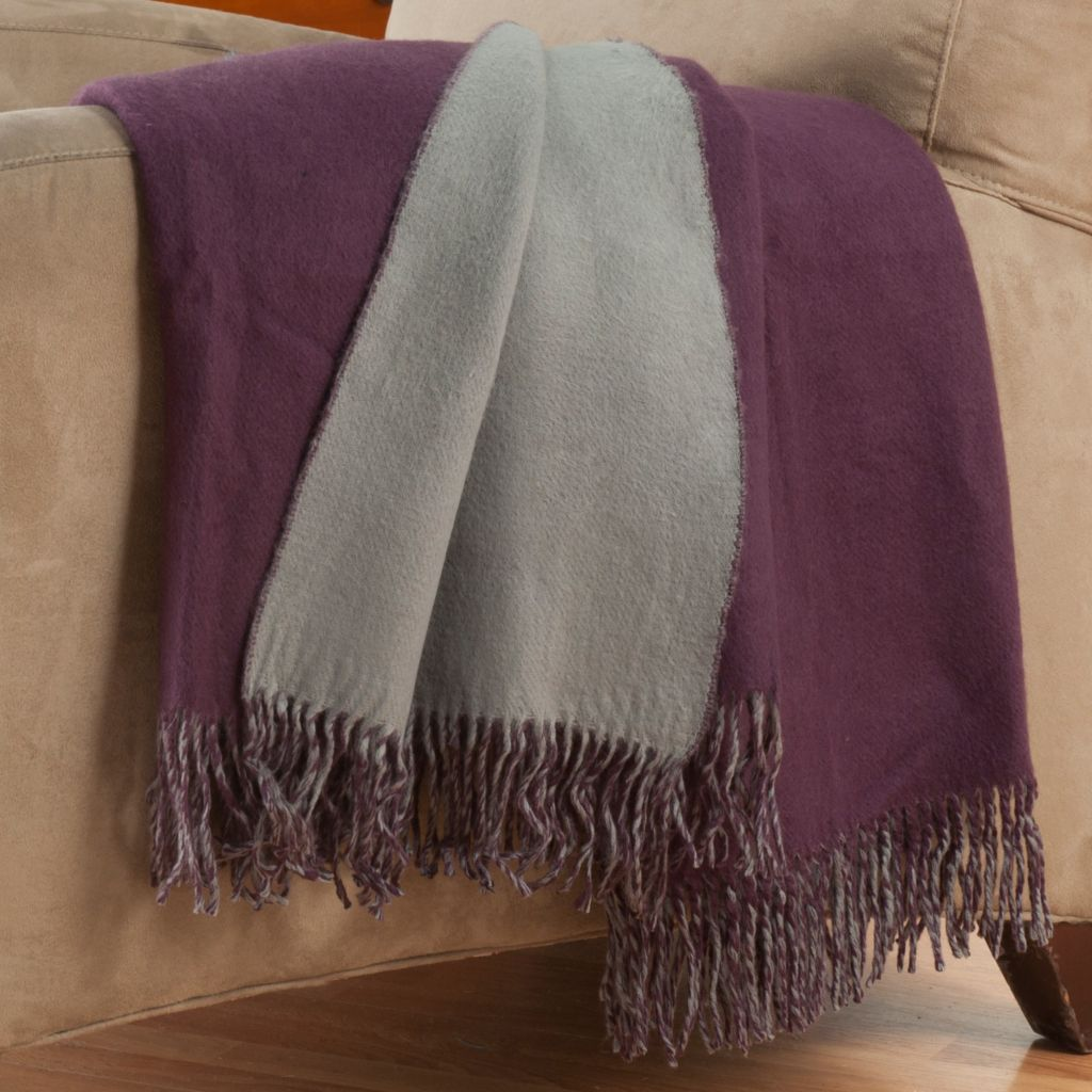 "402-115 - Cozelle® 50"" x 60"" Reversible Fringed Throw"