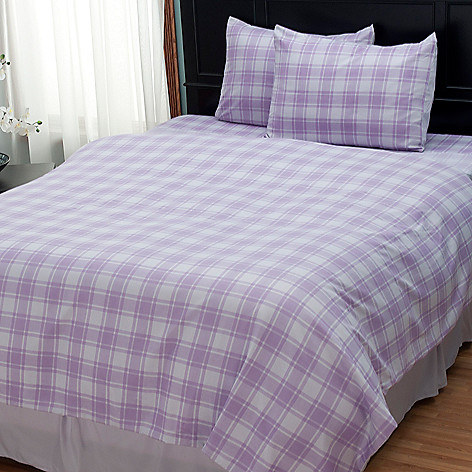 402-142 - Cozelle® ''Check'' Microfiber Three-Piece Duvet Set