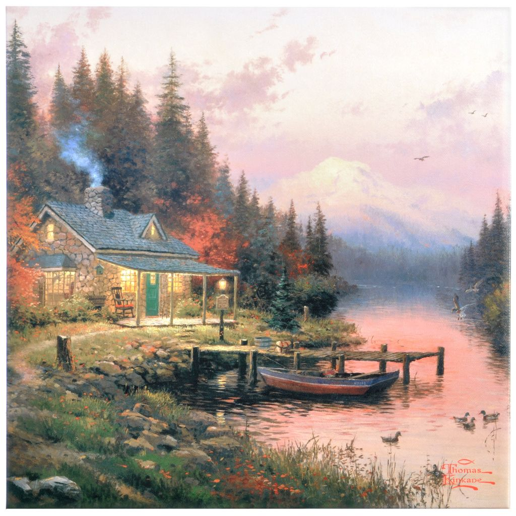 "403-199 - Thomas Kinkade End of a Perfect Day 14"" x 14"" Gallery Wrap"
