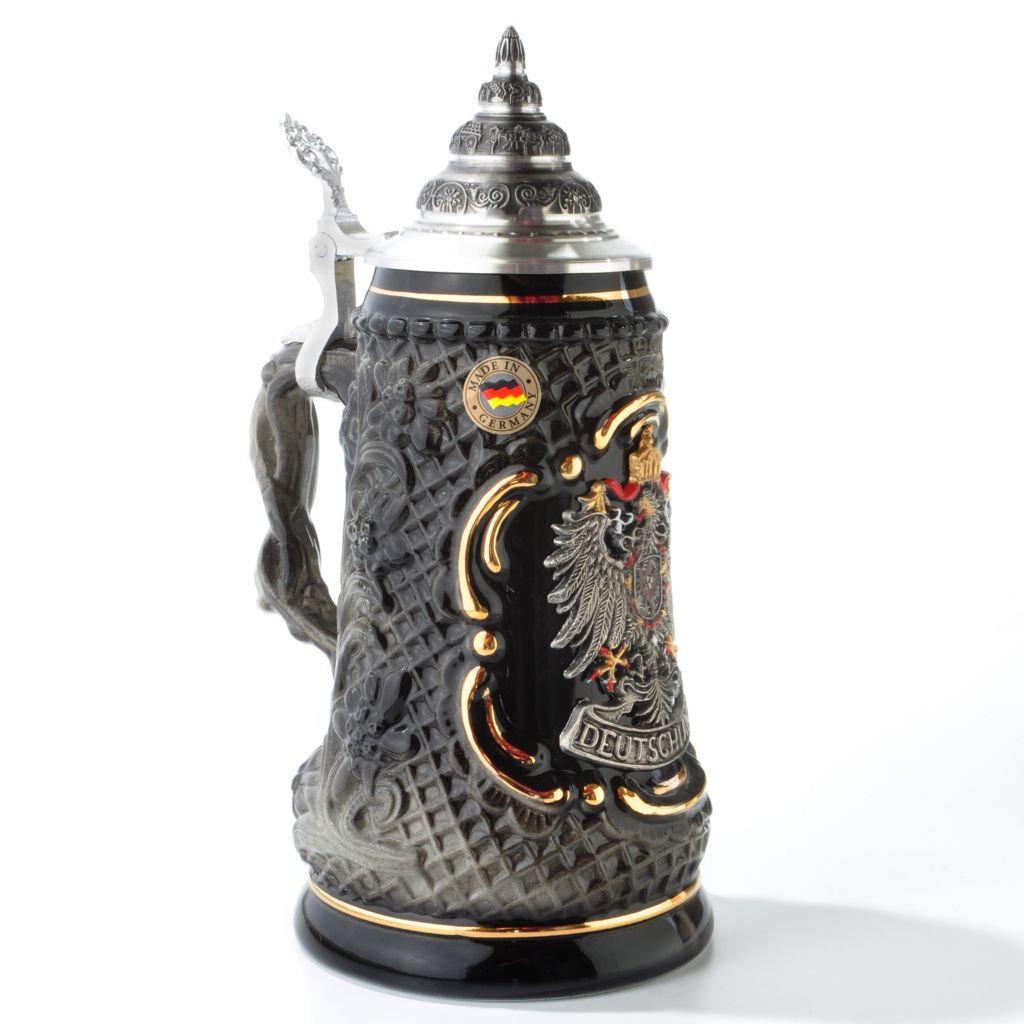"404-342 - King-Werk Limited Edition ""Deutschland Pewter Eagle"" Handcrafted Stoneware Stein"