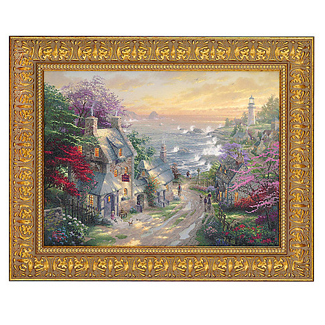 405-017 - Thomas Kinkade Village Lighthouse 12'' x 16'' Wood Framed Textured Print